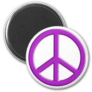 Lavender Peace Sign 2 Inch Round Magnet