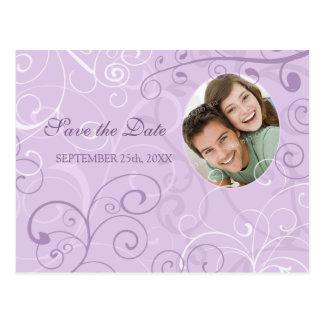 Lavender Photo Save the Date Wedding Postcards
