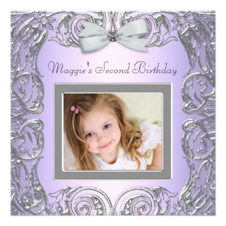 Lavender Photo Second Birthday Party Invitation