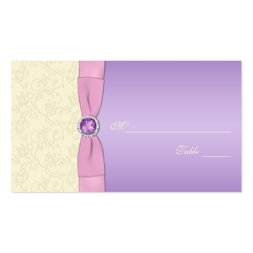 Lavender, Pink, and Ivory Placecards Business Card Template