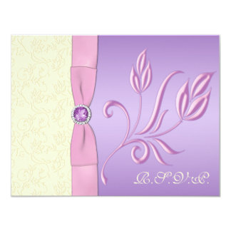 """Lavender, Pink and Ivory RSVP Card 4.25"""" X 5.5"""" Invitation Card"""