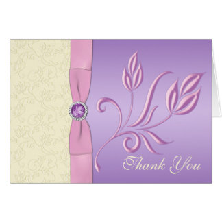Lavender, Pink, and Ivory Thank You Card