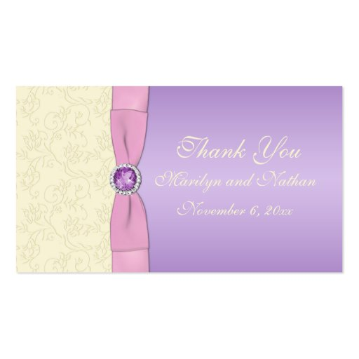 Lavender, Pink, and Ivory Wedding Favor Tag Business Card