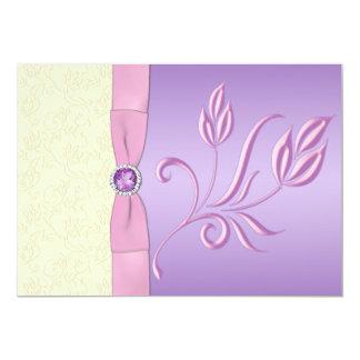 "Lavender, Pink and Ivory Wedding Invitation 5"" X 7"" Invitation Card"