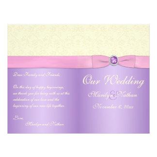 Lavender, Pink, and Ivory Wedding Program