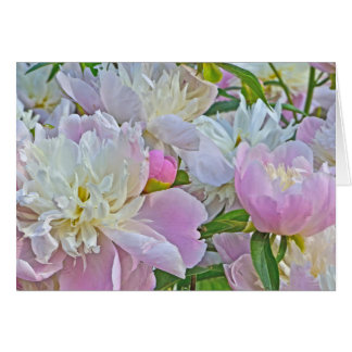 LAVENDER-PINK AND WHITE PEONIES CARD