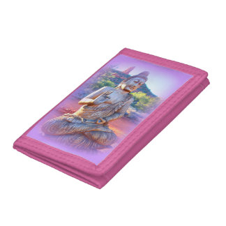lavender pink buddha trifold wallets