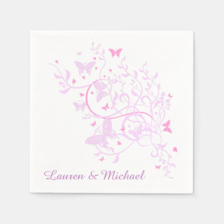 Lavender Pink Butterfly Swirl Wedding Paper Napkin