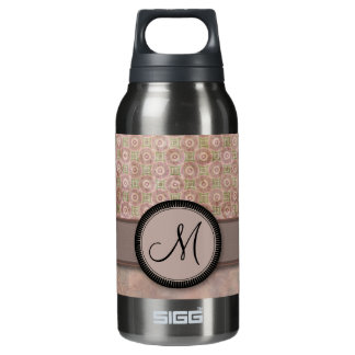 Lavender Pink Coin Pattern with Monogram Insulated Water Bottle