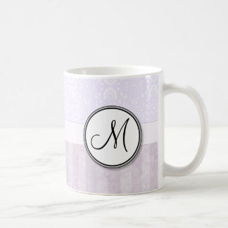 Lavender Pink Damask with Stripes and Monogram Classic White Coffee Mug