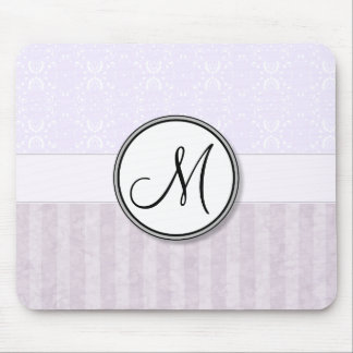 Lavender Pink Damask with Stripes and Monogram Mouse Pad