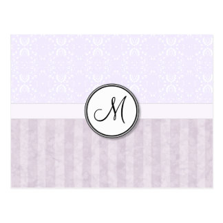 Lavender Pink Damask with Stripes and Monogram Postcard