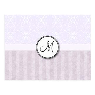 Lavender Pink Damask with Stripes and Monogram Postcard