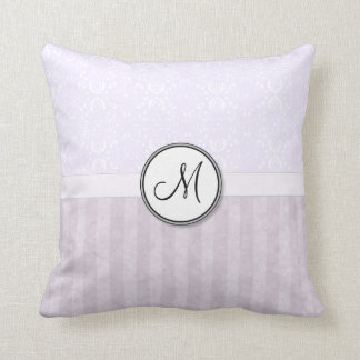 Lavender Pink Damask with Stripes and Monogram Throw Pillow