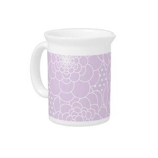 Lavender Pink Floral Design Modern Abstract Flower Beverage Pitcher