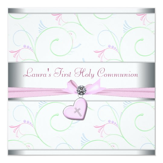 Lavender Pink Heart Pink Cross First Communion Card