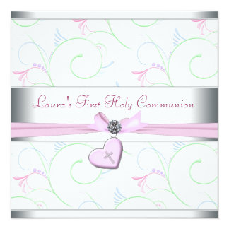 Lavender Pink Heart Pink Cross First Communion 5.25x5.25 Square Paper Invitation Card