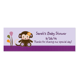 Lavender/Pink Jacana Monkey Girl Favor/Tags Mini Business Card