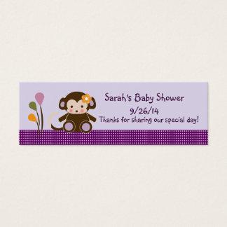 Lavender/Pink Jacana Monkey Girl Favor/Tags Mini Business Card