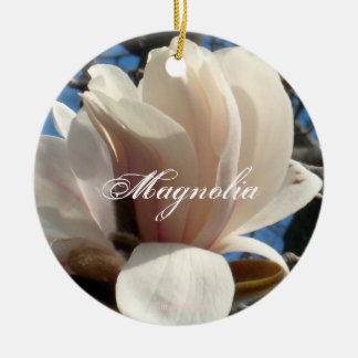 Lavender Pink Magnolia Ceramic Ornament