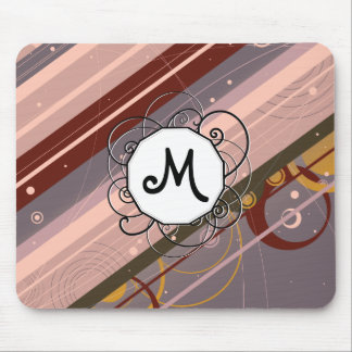 Lavender & Pink Modern-Retro Stripes with Monogram Mouse Pad