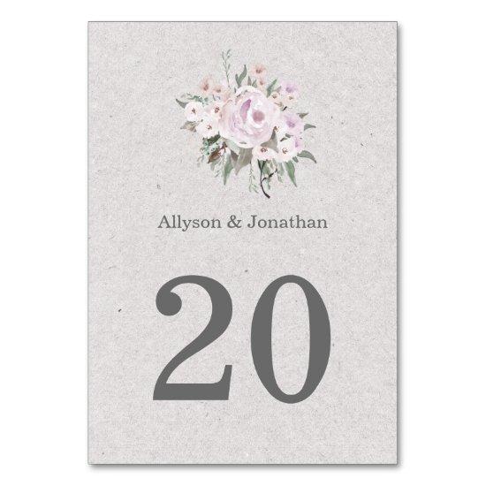 Lavender Pink Sage Green Table Cards |