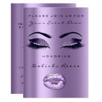 Lavender Plum Purple Black Glitter Bridal 16th Card