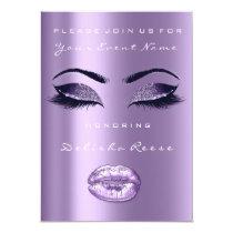 Lavender Plum Purple Lip Glitter Bridal Sweet 16th Card