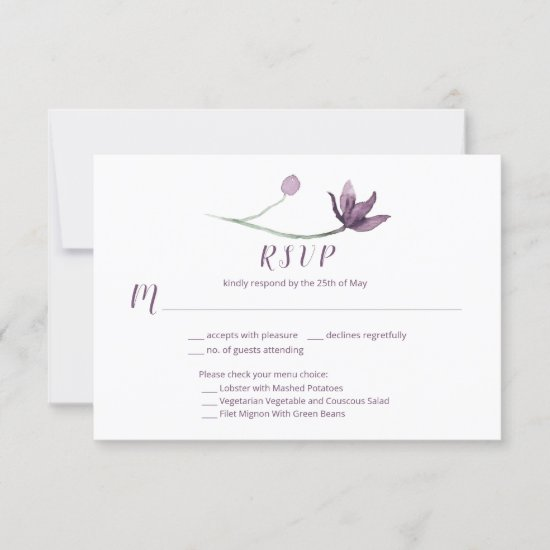 Lavender Plum Purple Watercolor Floral Menu Choice