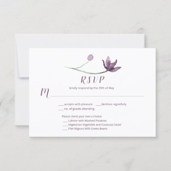 Lavender Plum Purple Watercolor Floral Menu Choice