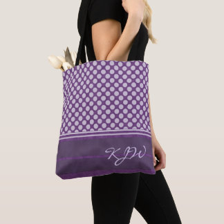 Lavender Polka Dot on Plum Monogram Tote Bag