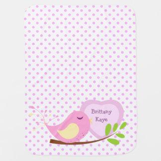 Lavender Polka Dot Pink Bird Personalized Swaddle Blanket