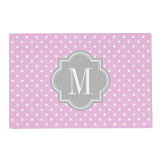 Lavender Polka Dot with Gray Monogram Placemat