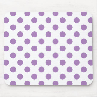 Lavender polka dots on white mouse pad