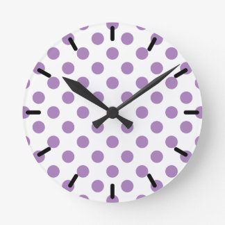 Lavender polka dots on white round clock