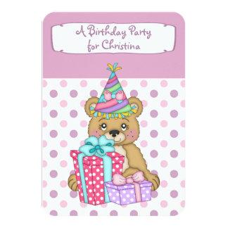 Lavender Polkadot Bear Birthday Party Card