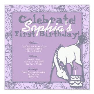 Lavender Pony Girl's First Birthday 5.25x5.25 Square Paper Invitation Card