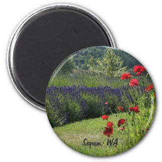 Lavender & Poppies 2 Inch Round Magnet