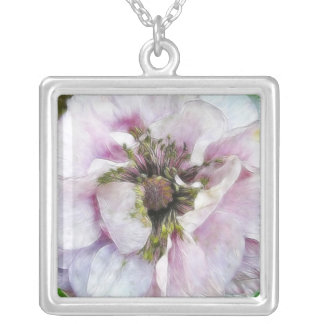 Lavender Poppy Square Pendant Necklace