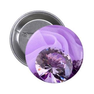 Lavender Purple Amethyst Diamond Pinback Button