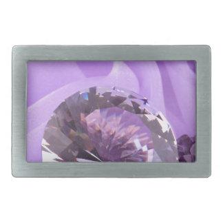 Lavender Purple Amethyst Diamond Rectangular Belt Buckle