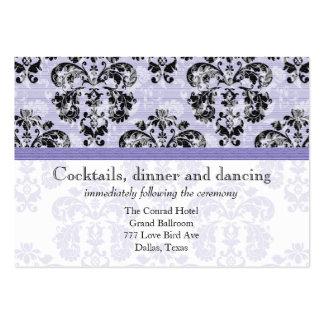 Lavender Purple and Black Damask Wedding Reception Business Card