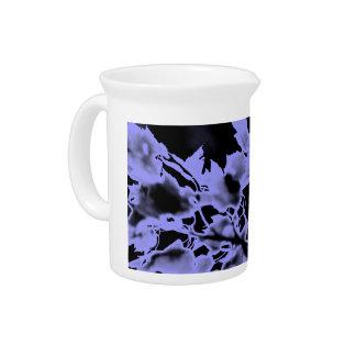 Lavender Purple and Black Leaf Abstract Design Pitcher