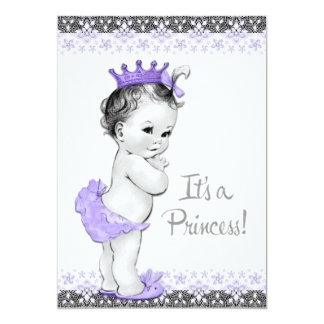 Lavender Purple and Gray Baby Girl Shower Card