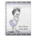 Lavender Purple and Gray Baby Shower Guest Book Spiral Note Book
