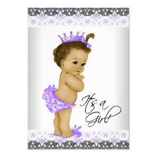 Lavender Purple and Gray Vintage Baby Girl Shower Card