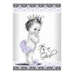 "Lavender Purple and Gray Vintage Baby Girl Shower 5"" X 7"" Invitation Card"