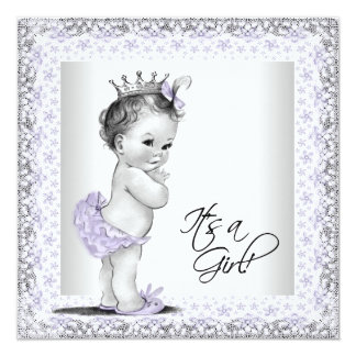 """Lavender Purple and Gray Vintage Baby Girl Shower 5.25"""" Square Invitation Card"""