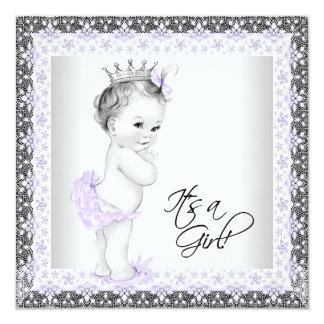 Lavender Purple and Gray Vintage Baby Girl Shower Custom Invites