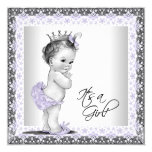"Lavender Purple and Gray Vintage Baby Girl Shower 5.25"" Square Invitation Card"